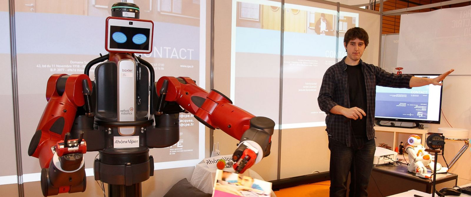 PHOTO: A Baxter manufacturing robot on display at Innorobo International Robotics trade show on March 18, 2014 in Lyon, France.