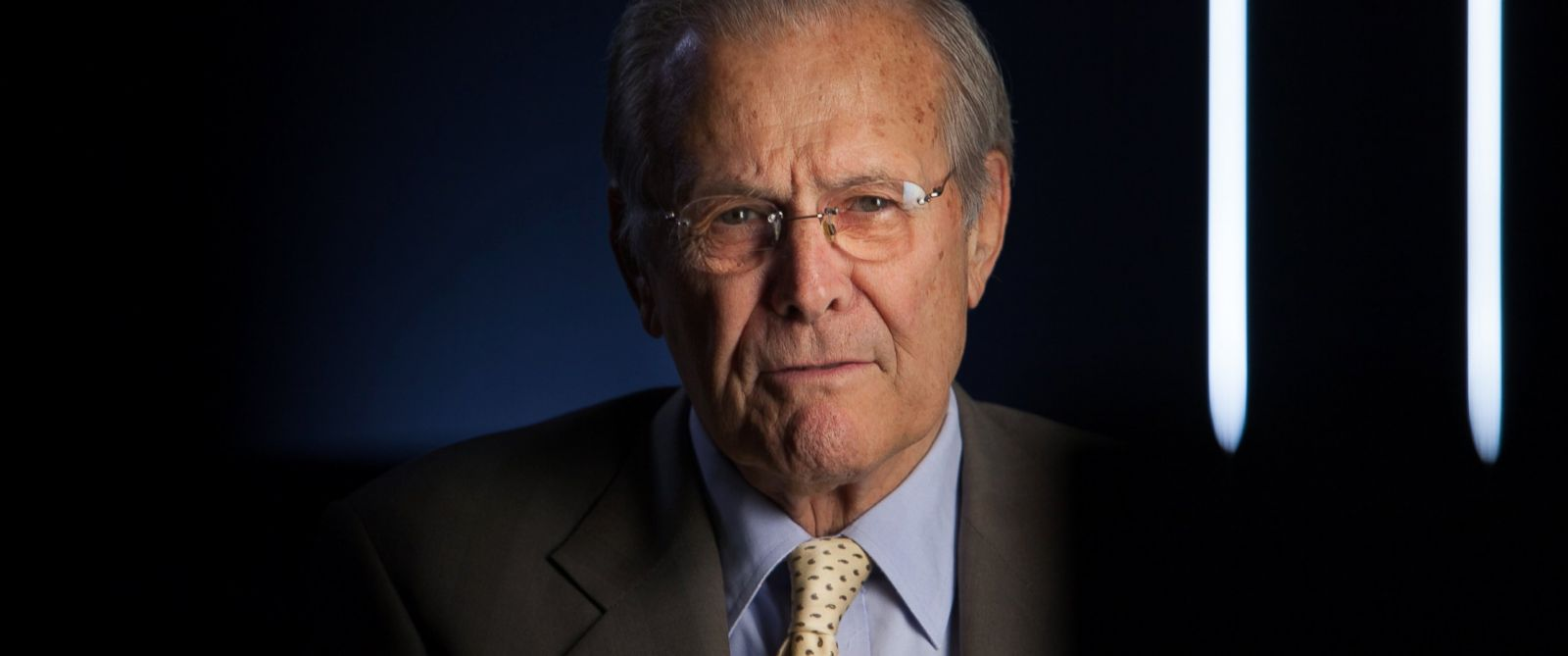 """PHOTO:Former Secretary of Defense Donald Rumsfeld being interviewed for the documentary, """"The Presidents Gatekeepers,"""" May 17, 2012 in Washington."""
