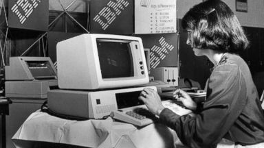 PHOTO: A marketing representative for IBM demonstrates how to use one of the companys computers in this May 8, 1983 file photo.