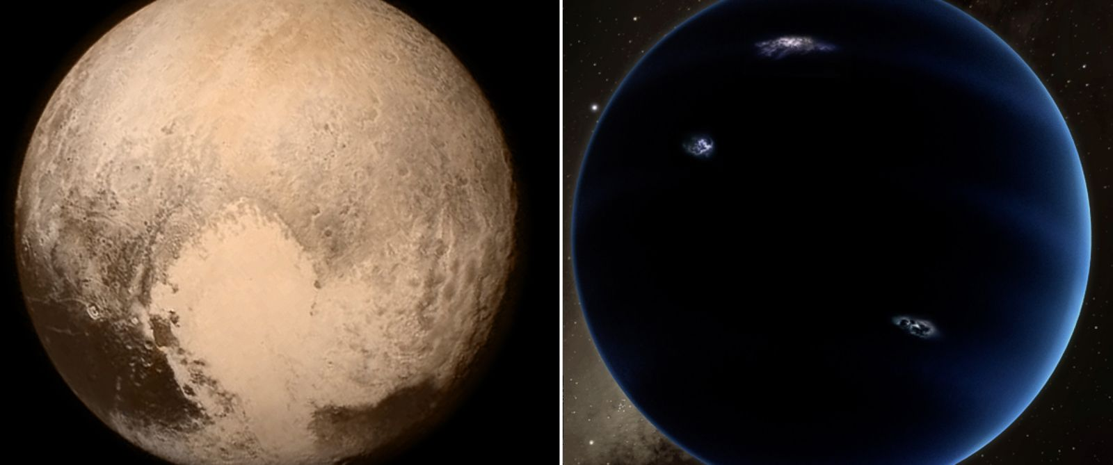 """PHOTO:Pluto, left, is seen in this image, taken aboard NASAs New Horizons spacecraft, July 13, 2015.Right, Scientists reported they finally have """"good evidence"""" for Planet X, a ninth planet, seen in this artist rendering."""
