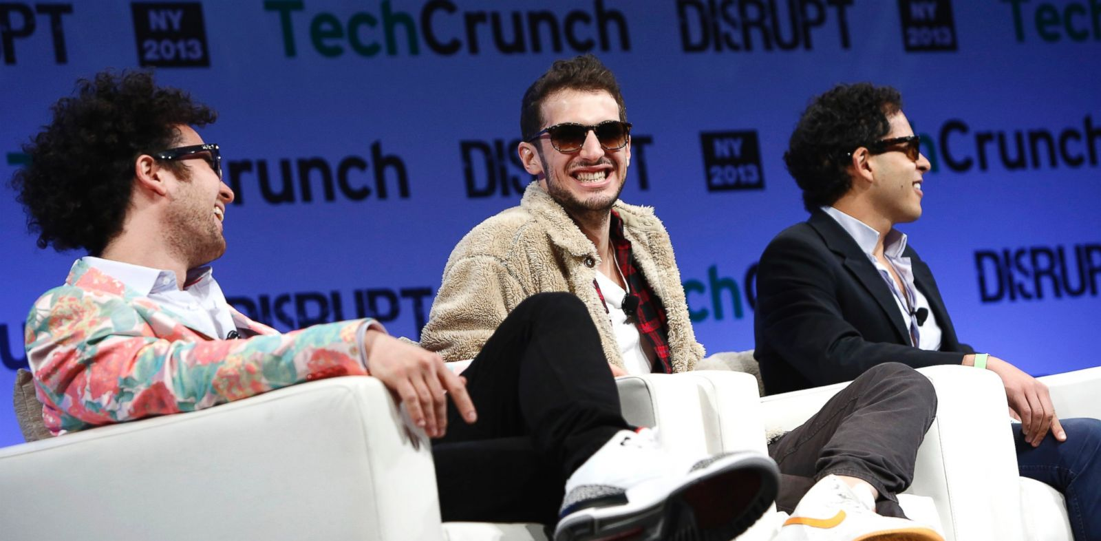 PHOTO: From left: Tom Lehman, Ilan Zechory and Mahbod Moghadam of Rap Genius speak onstage at TechCrunch Disrupt NY 2013 on May 1, 2013 in New York.