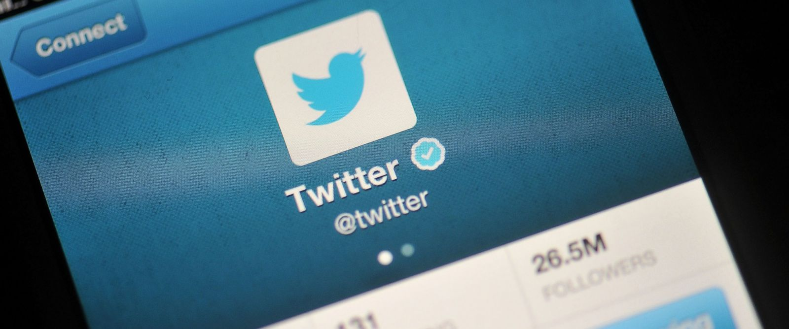PHOTO: The Twitter logo is displayed on a mobile device on Nov. 7, 2013 in London.