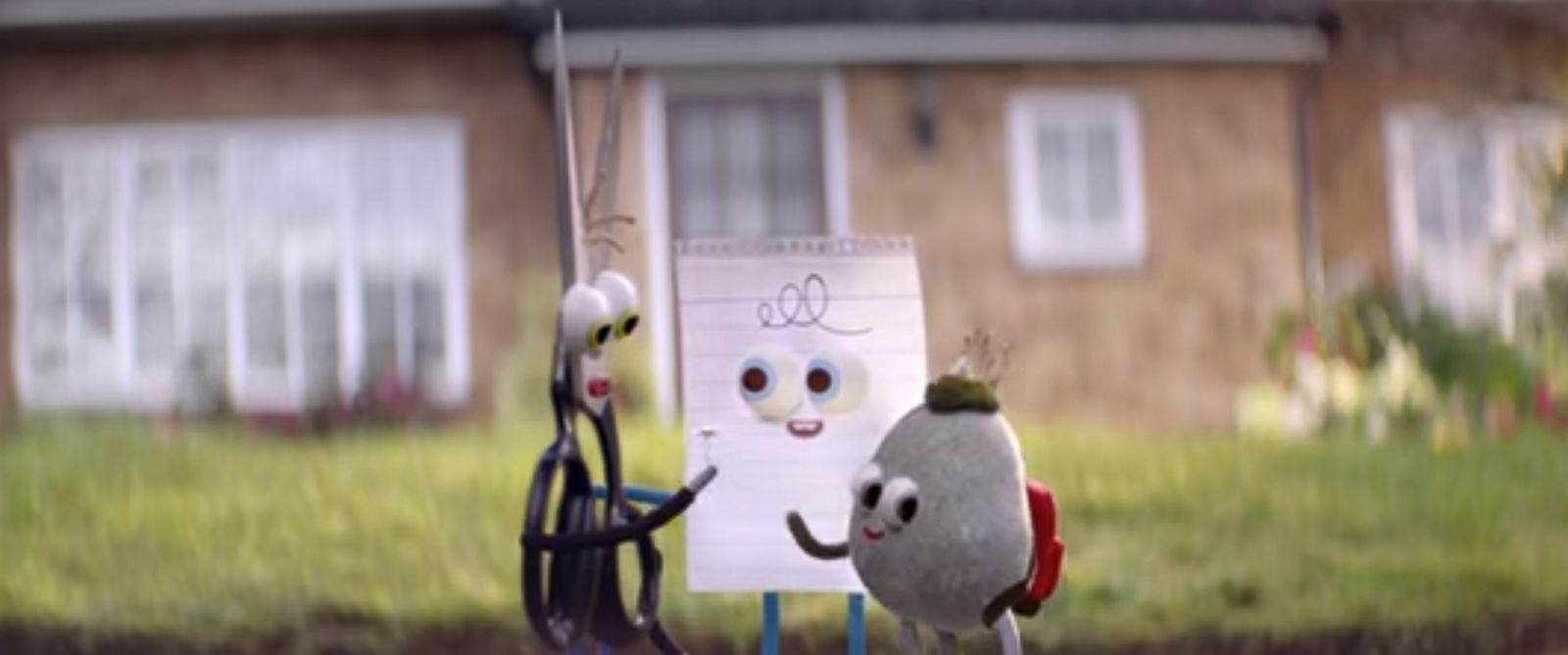 PHOTO: Androids Oscar commercial has Rock, Paper, and Scissors becoming friends.