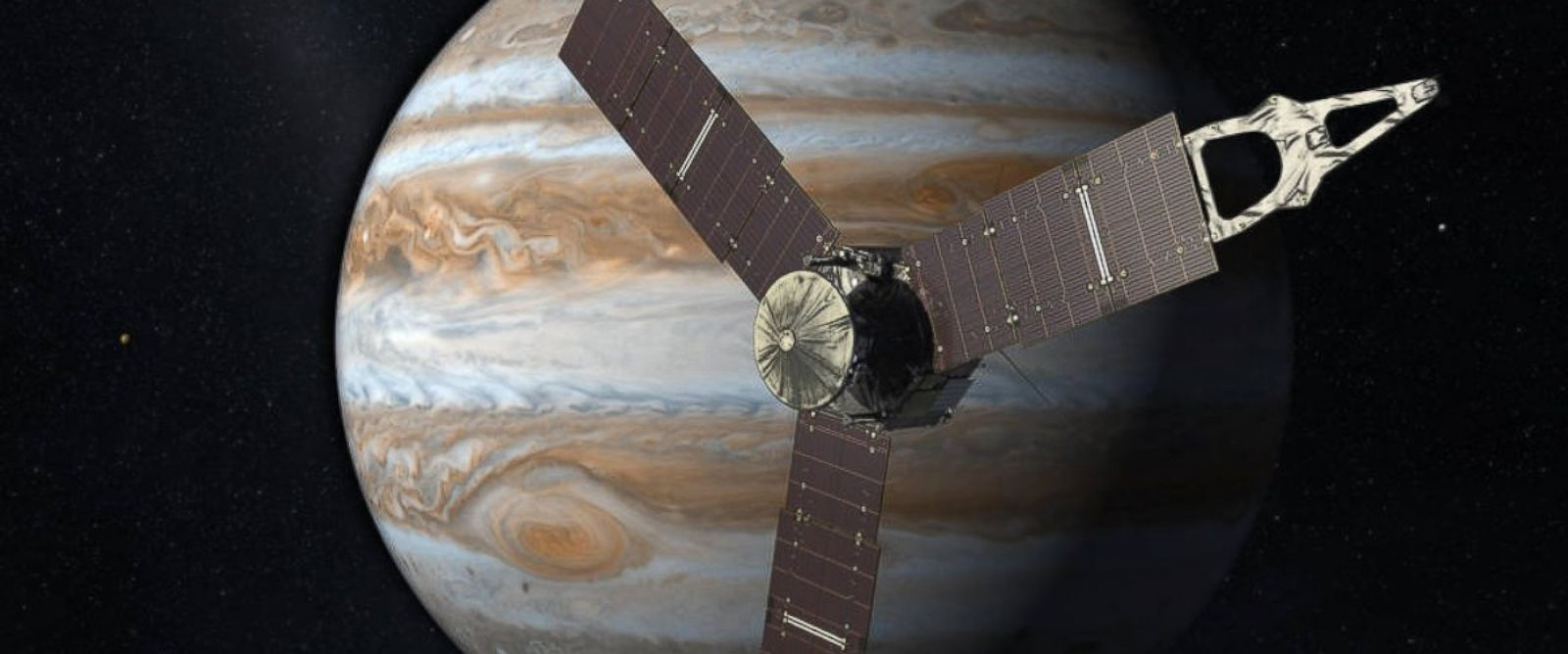 PHOTO: NASAs Juno mission to Jupiter has broken the record to become the most distant solar-powered emissary. The milestone occurred at 2 p.m. EST on Jan. 13, 2016 when Juno was about 493 million miles from the sun.