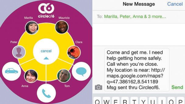 PHOTO: Two touches of the app lets a users circle know where they are and how they can help.