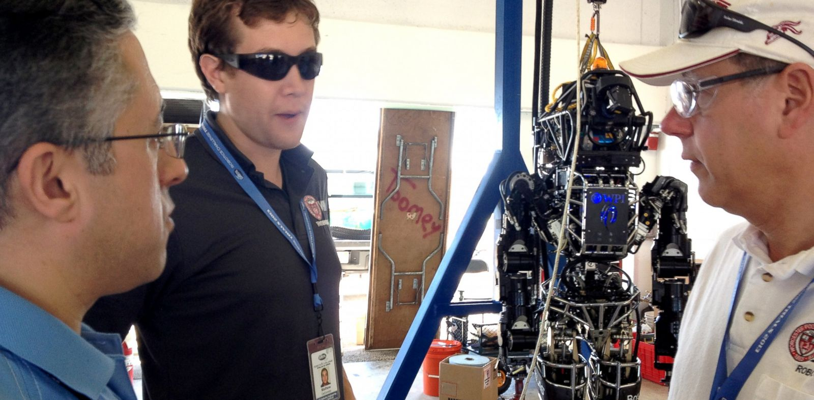 PHOTO: WPIs robot Warner stands ready for action at the DARPA Robotics Challenge.