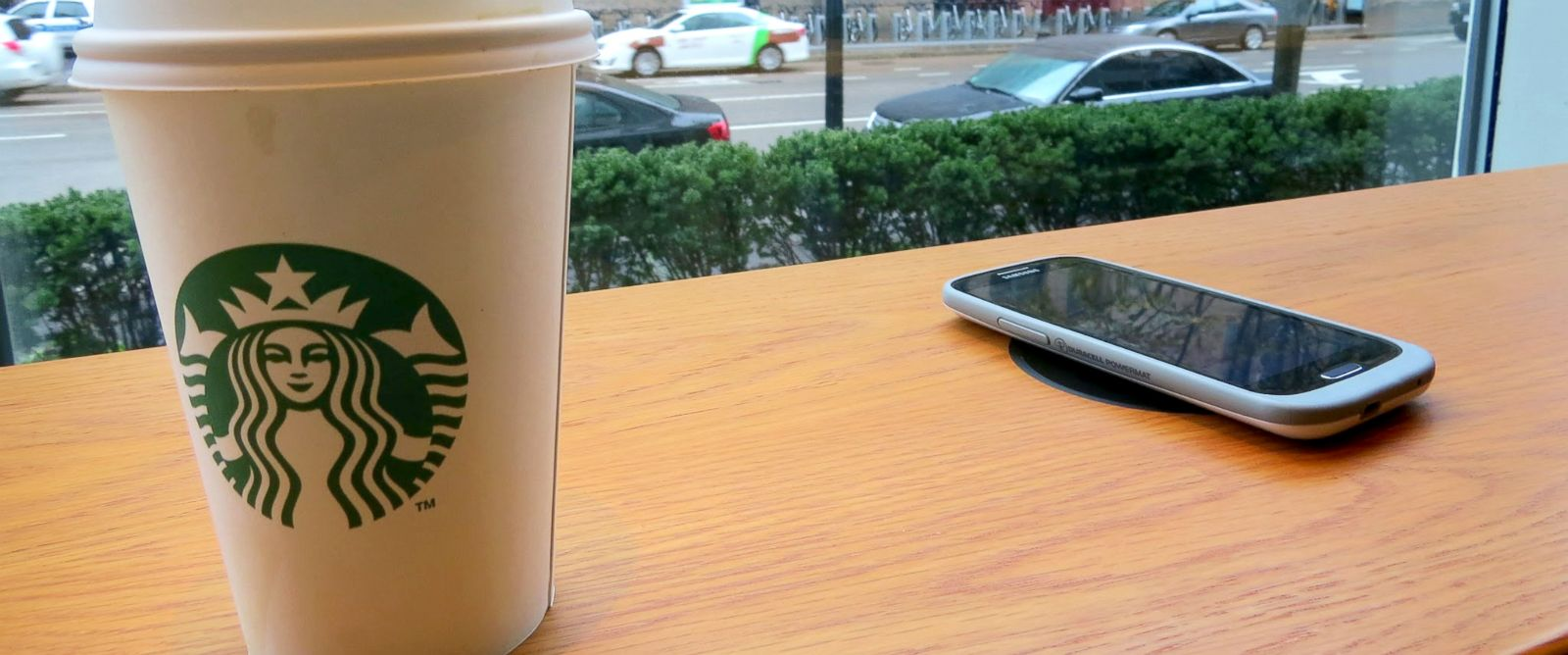 PHOTO: A wireless charging spot is seen here at a Starbucks store.