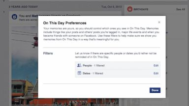 PHOTO: Facebook is introducing ways to filter what you see from its on this day feature.
