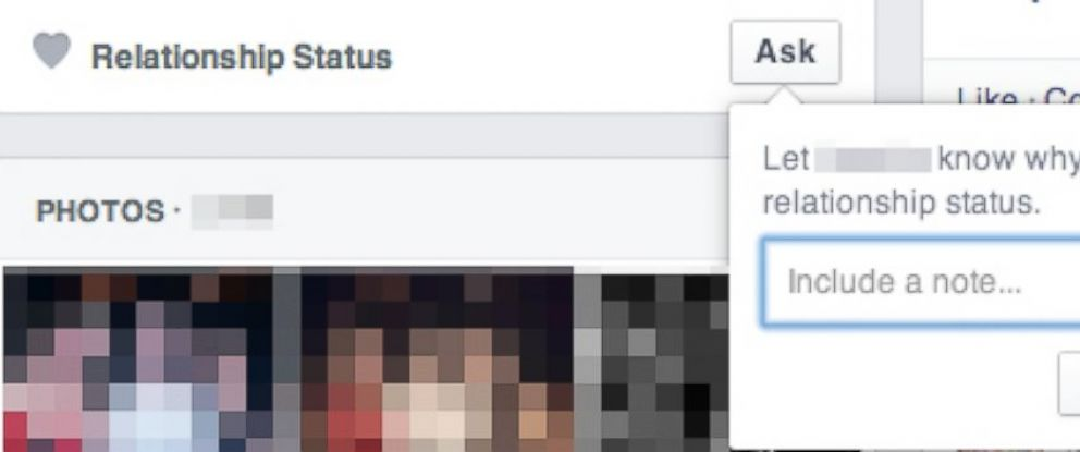 """PHOTO: Facebook allows users to """"ask"""" others about their relationship status with a new button."""