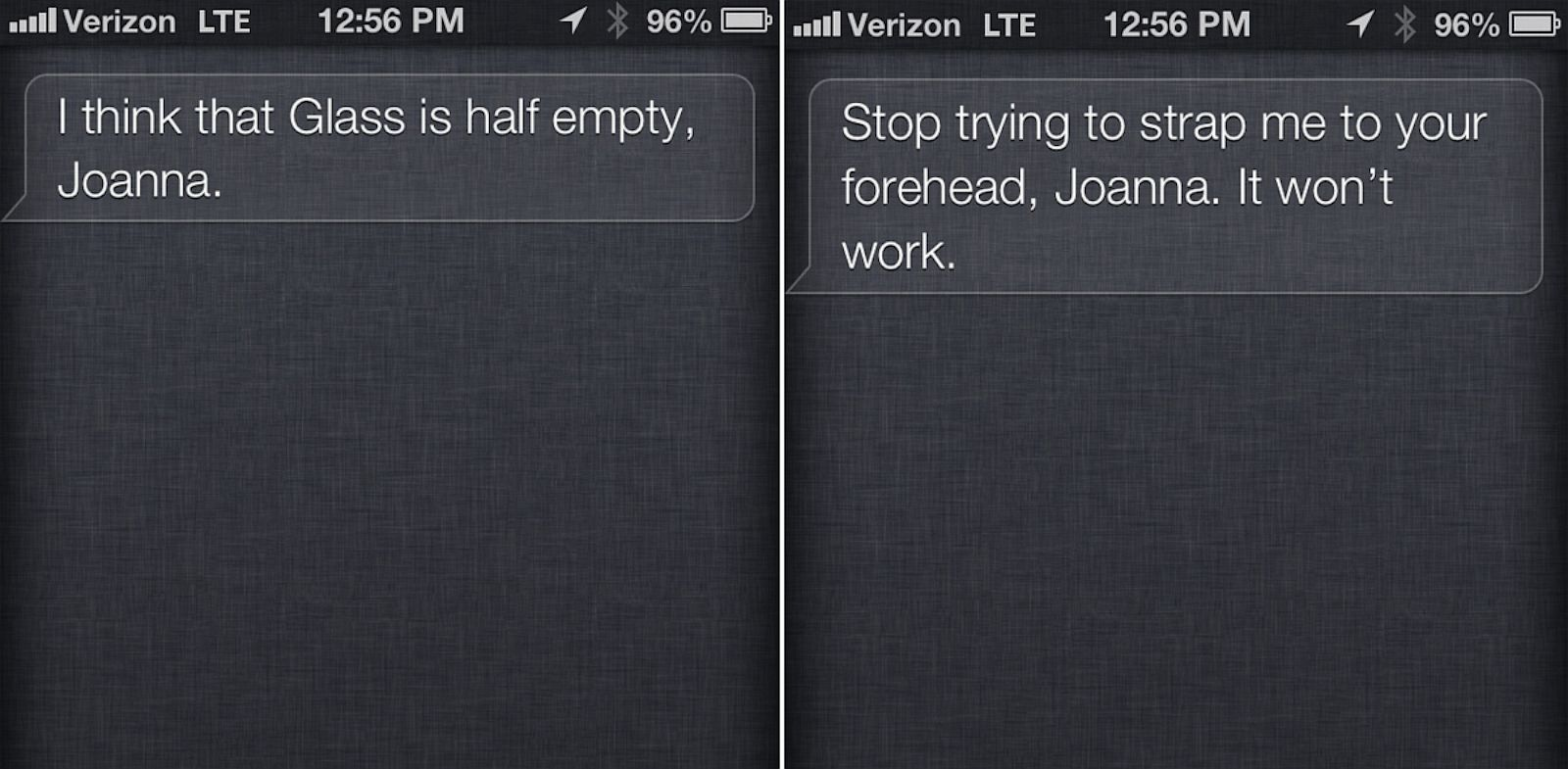 "PHOTO: Siris got some new snarky responses to ""OK Glass."""