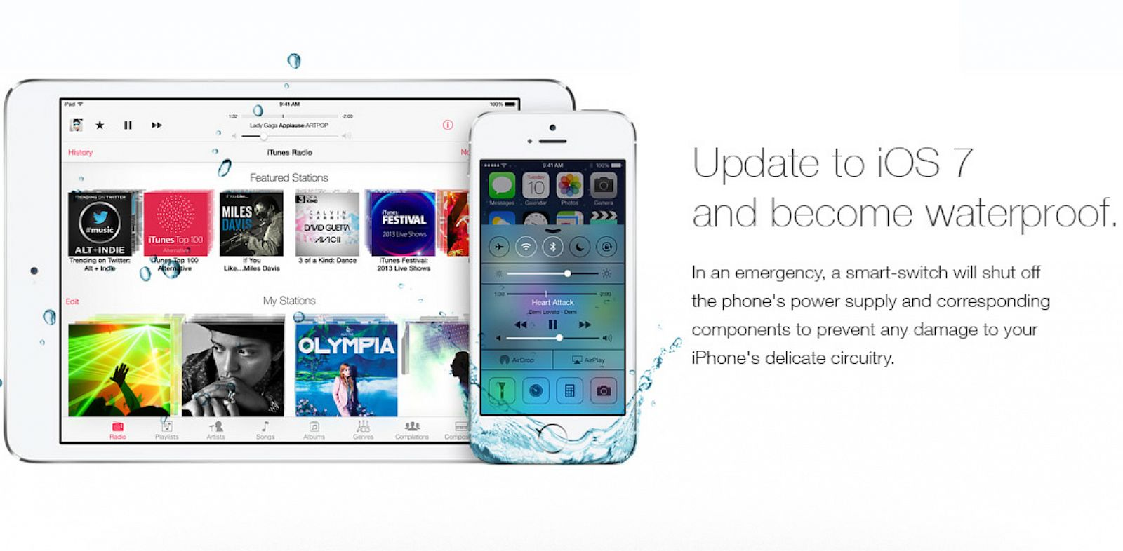 PHOTO: An internet message board collaborated to work on a fake iOS 7 ad claiming the update makes phones waterproof.