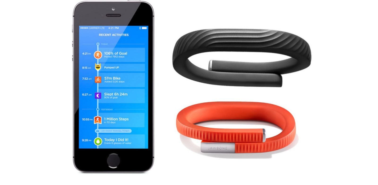 PHOTO: The Jawbone UP24 includes Bluetooth to wireless sync your fitness activity with the iPhone.