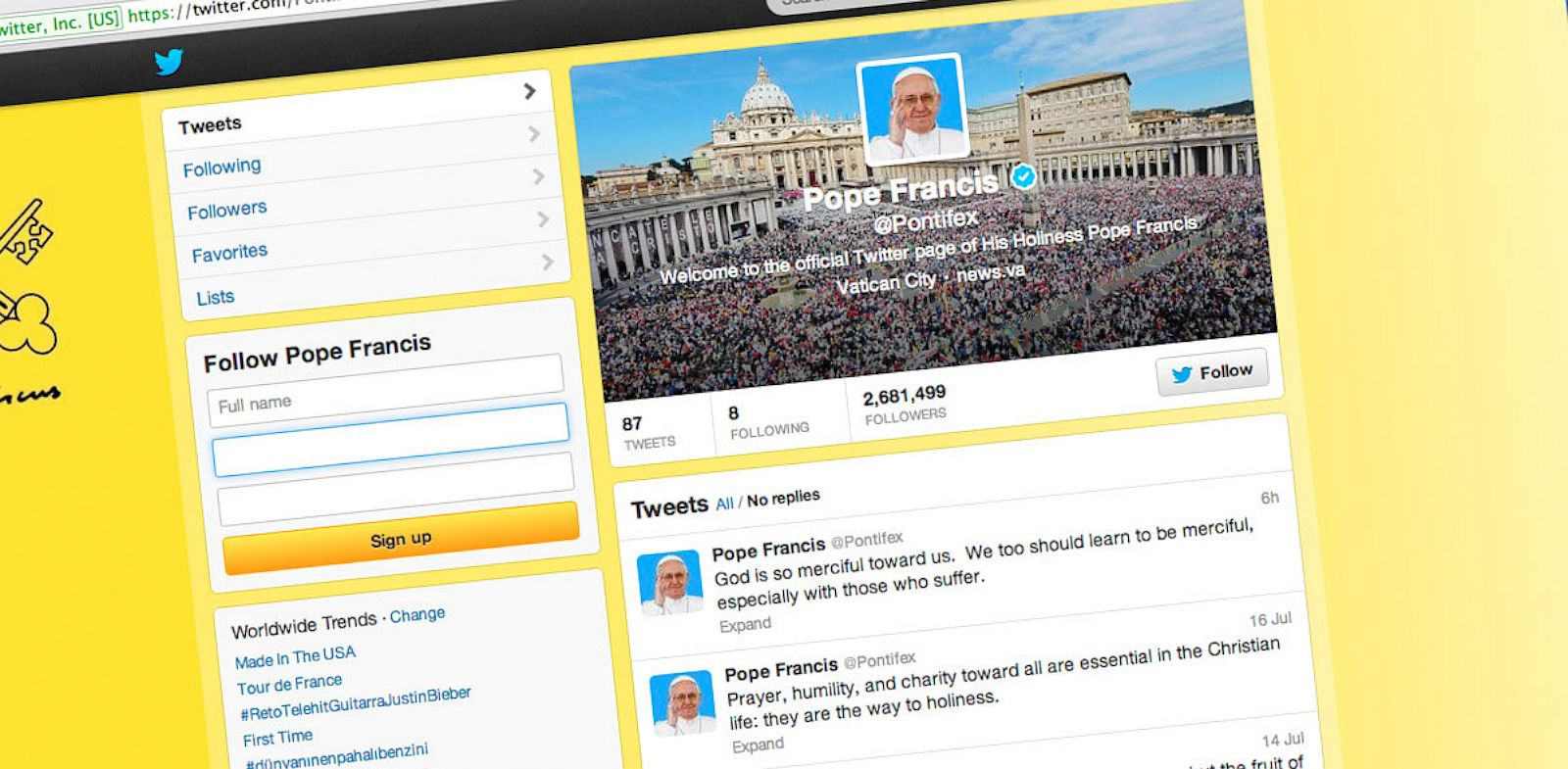 PHOTO: A screenshot from Pope Francis Twitter account.
