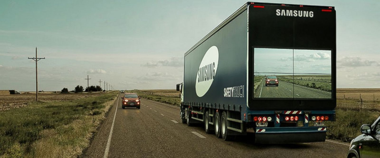 """PHOTO: Samsung is working on a """"see through"""" truck to help save lives on the road."""