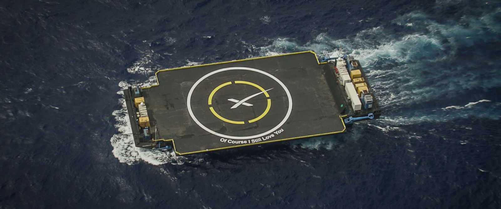 "PHOTO:SpaceXs ""Of Course I Still Love You"" drone ship is pictured in this undated file photo."