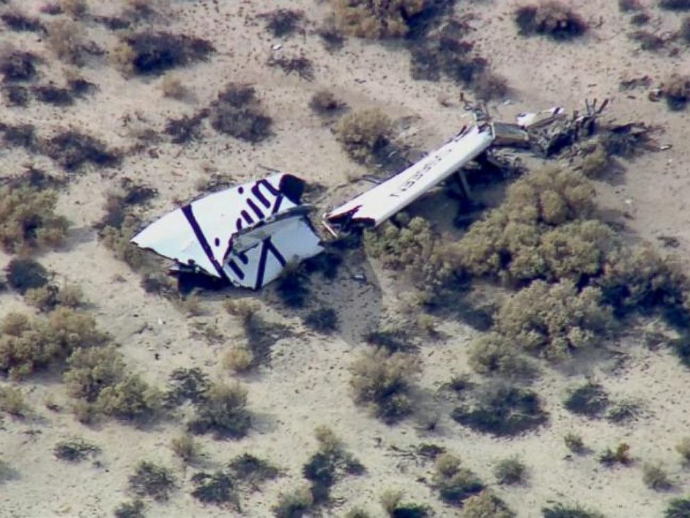 Virgin Galactica confirmed that there was an anomaly with a test flight and wreckage of what appears to be a part of a wing, pictured, was spotted in the Mojave Desert.