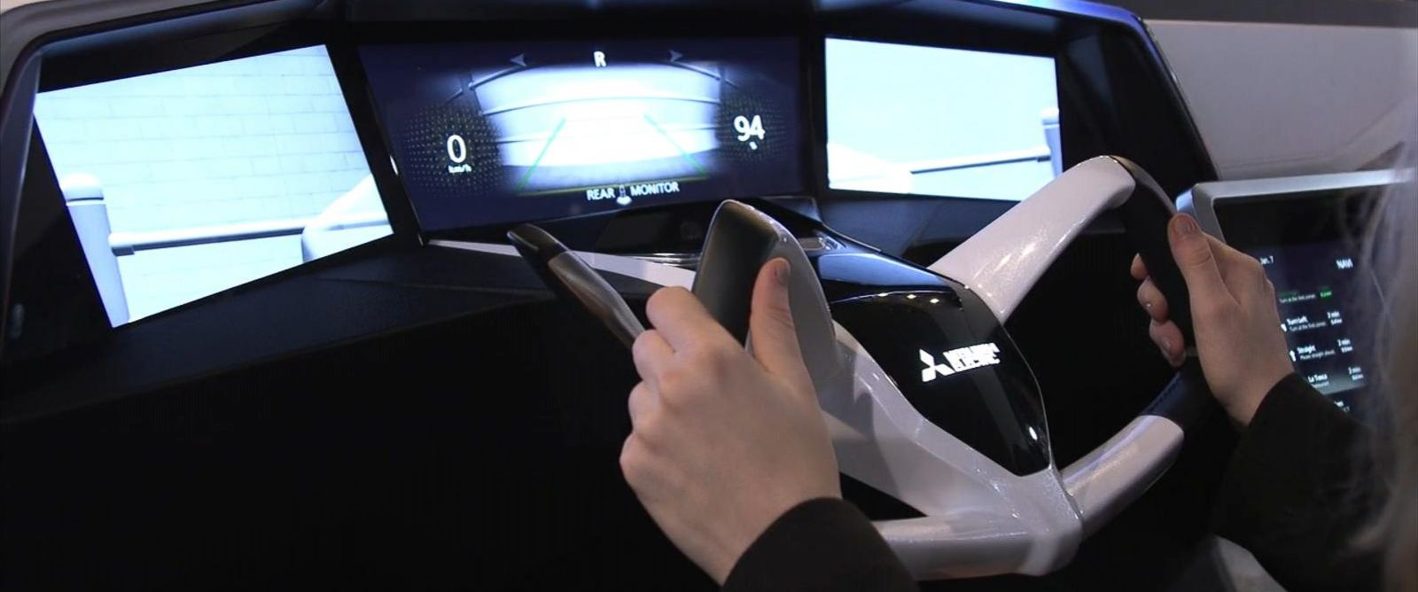 PHOTO:ABC News takes a virtual ride in the Mitsubishi Electronics concept car at CES in Las Vegas on Jan. 6.
