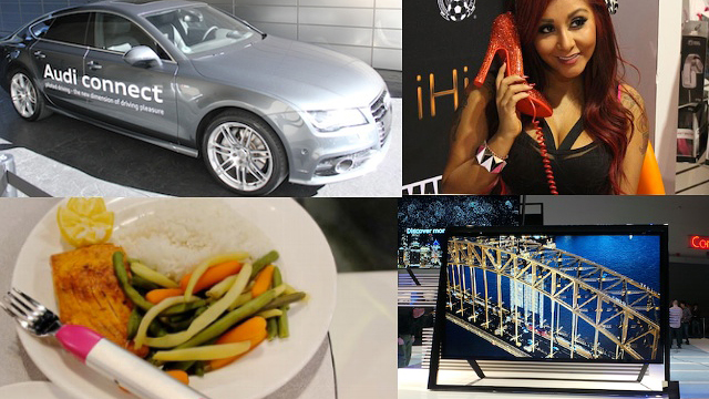 PHOTO: Audis piloted parking car, Snookis bling bling phone, the HapiFork, and Samsungs S9 Ultra HD were all shown at CES 2013.