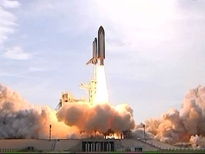 VIDEO: Endeavor takes to the skies on its journey to the International Space Station.