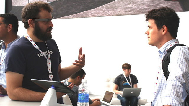 PHOTO: A Tumblr employee demos Tumblrs Glass app at Googles I/O 2013 conference.
