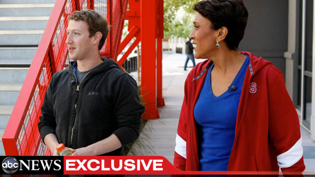PHOTO:Robin Roberts talks to Mark Zuckerberg, the founder and CEO of Facebook, for an interview airing TUESDAY, MAY 1 on GOOD MORNING AMERICA (7-9am, ET) on the ABC Television Network.