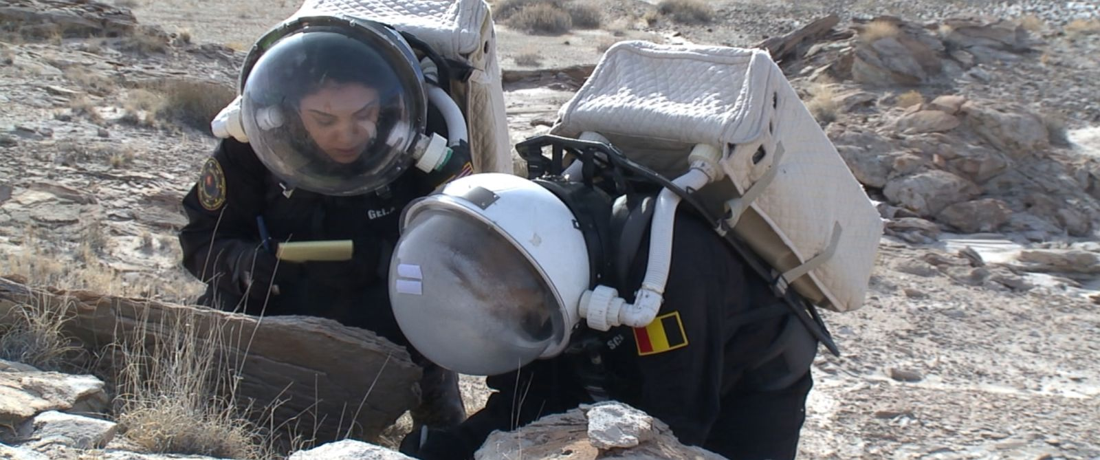 Kellie Gerardi (left) and a colleague are shown here training at the Mars Society's Desert Research Station in Utah.