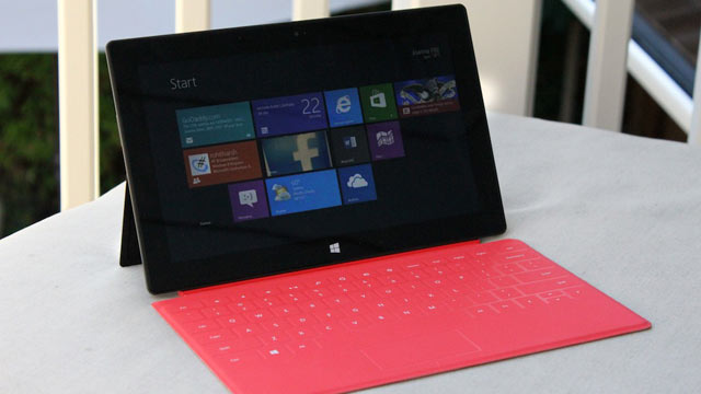 PHOTO: Microsofts Surface RT tablet and Touch Cover costs $599 and runs Windows RT.