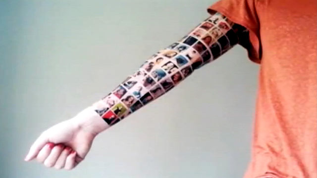 PHOTO:A YouTube user getting a tattoo montage of her Facebook friends profile pictures.