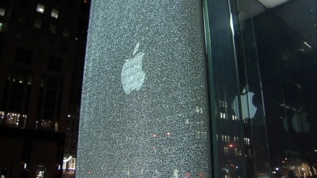VIDEO: Glass window at Apples NYC store shatters due to a snowblower mishap.