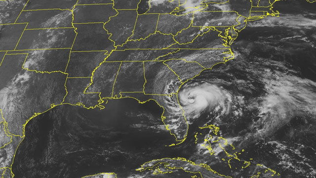 PHOTO: This NOAA satellite image taken Sunday, May 27, 2012 at 01:45 PM EDT shows Tropical Storm Beryl spinning about 110 miles east of Jacksonville, Fla.