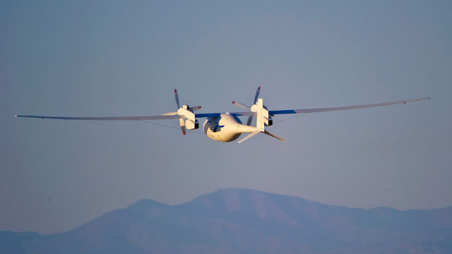 PHOTO: The new Boeing Phantom Eye unmanned drone, designed to stay airborne for days, travels on its first autonomous flight at the NASA Dryden Flight Research Center at Edwards Air Force Base, Calif.
