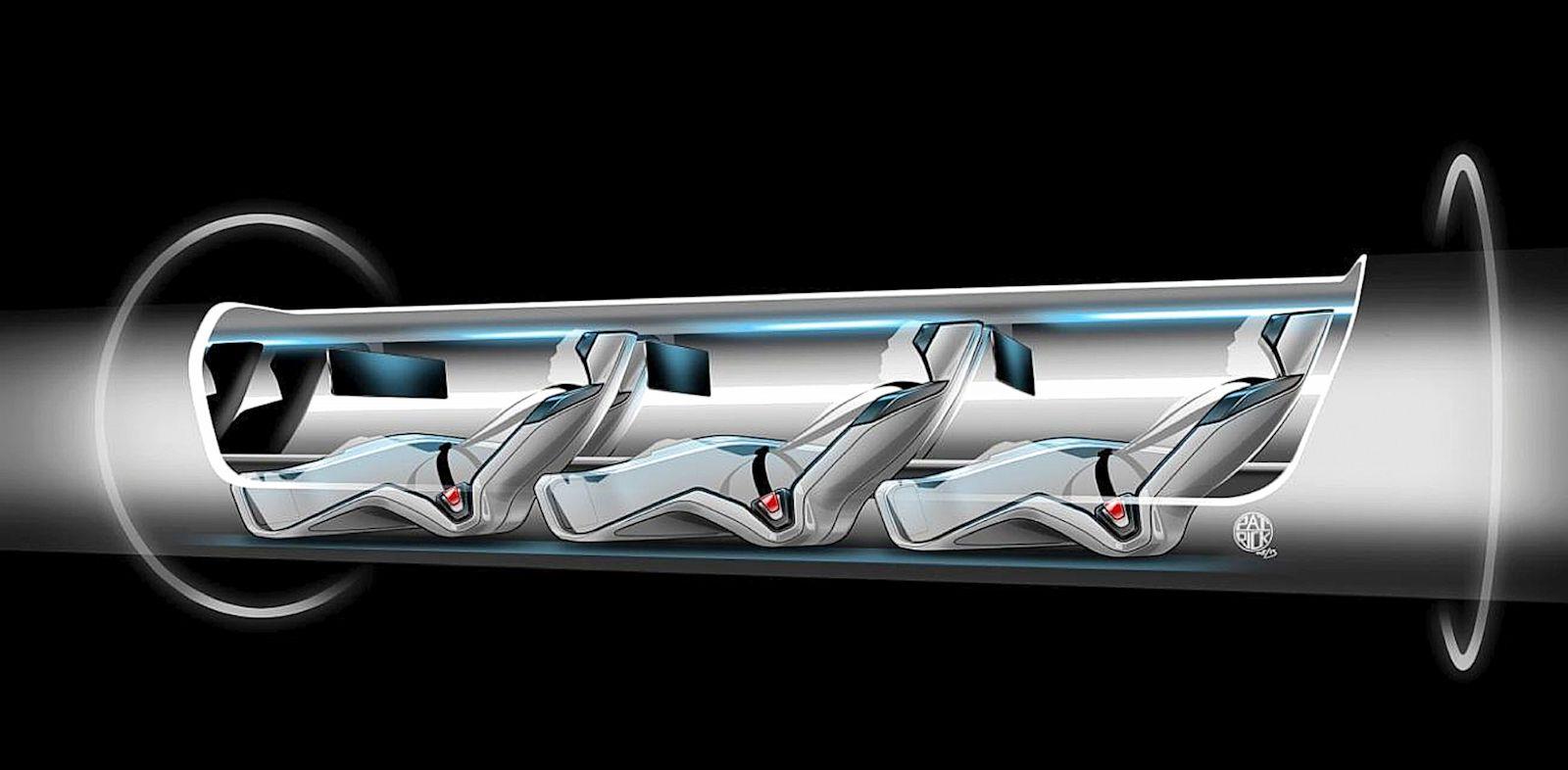 PHOTO: A sketch, released by Tesla Motors, of the Hyperloop capsule with passengers onboard.