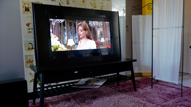 Tv and sound system integrated in the furniture for the swedish home
