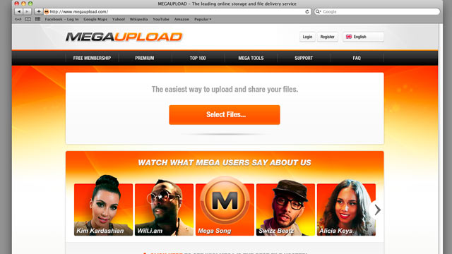 PHOTO: This undated image obtained by The Associated Press shows the homepage of the website Megaupload.com.
