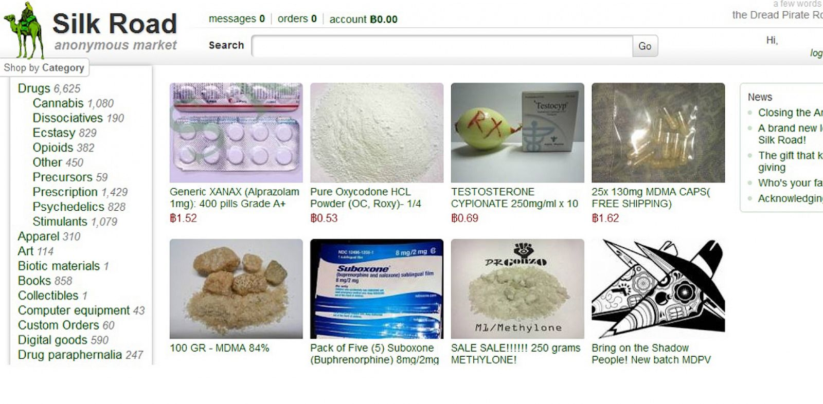 PHOTO: This frame grab from the Silk Road website shows thumbnails for products allegedly available through the site.