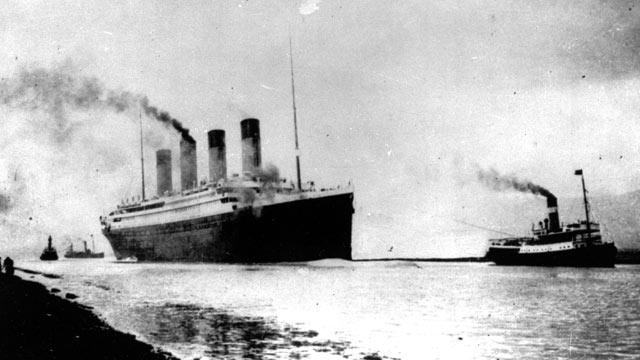 PHOTO: In this April 10, 1912 photo, the Luxury liner Titanic departs Southampton, England, for her maiden Atlantic Ocean voyage to New York.
