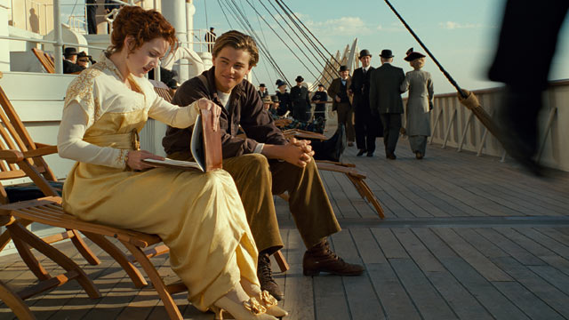 "PHOTO: In this film image released by Paramount Pictures, Leonardo DiCaprio and Kate Winslet, left, are shown in a scene from the 3-D version of James Camerons romantic epic ""Titanic."""