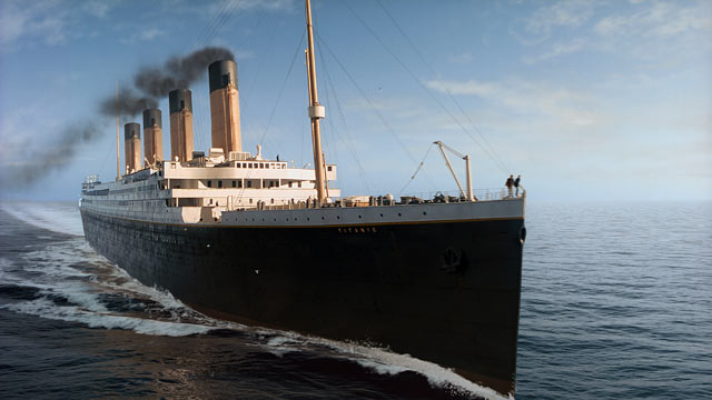 """PHOTO: In this film image released by Paramount Pictures, a scene is shown from 3-D version of James Camerons romantic epic """"Titanic."""""""