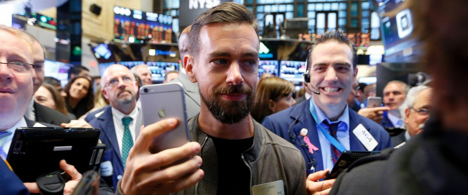 PHOTO: Jack Dorsey, co-founder and CEO of Twitter and mobile payments company Square, waits for Square stock to open up on the New York Stock Exchange for the first day of public trading in New York, Nov. 19, 2015.