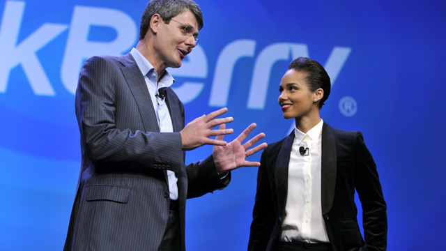 PHOTO: Blackberry, formerly Research in Motion CEO Thorsten Heins, and singer Alicia Keys officially unveil the BlackBerry 10 mobile platform as well as two new devices January 30, 2013 at the New York City Launch at Pier 36.