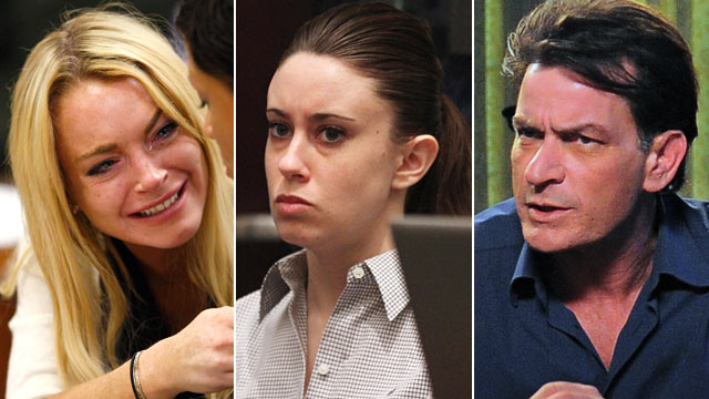 PHOTO:Seen here is Lindsay Lohan, Casey Anthony and Charlie Sheen.
