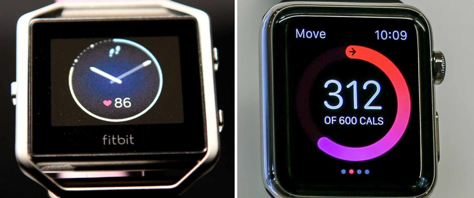 PHOTO: A Fitbit Blaze fitness tracker is displayed during an event in Las Vegas, Jan. 5, 2016 and an Apple Watch is seen in New York on Sept. 9, 2015.