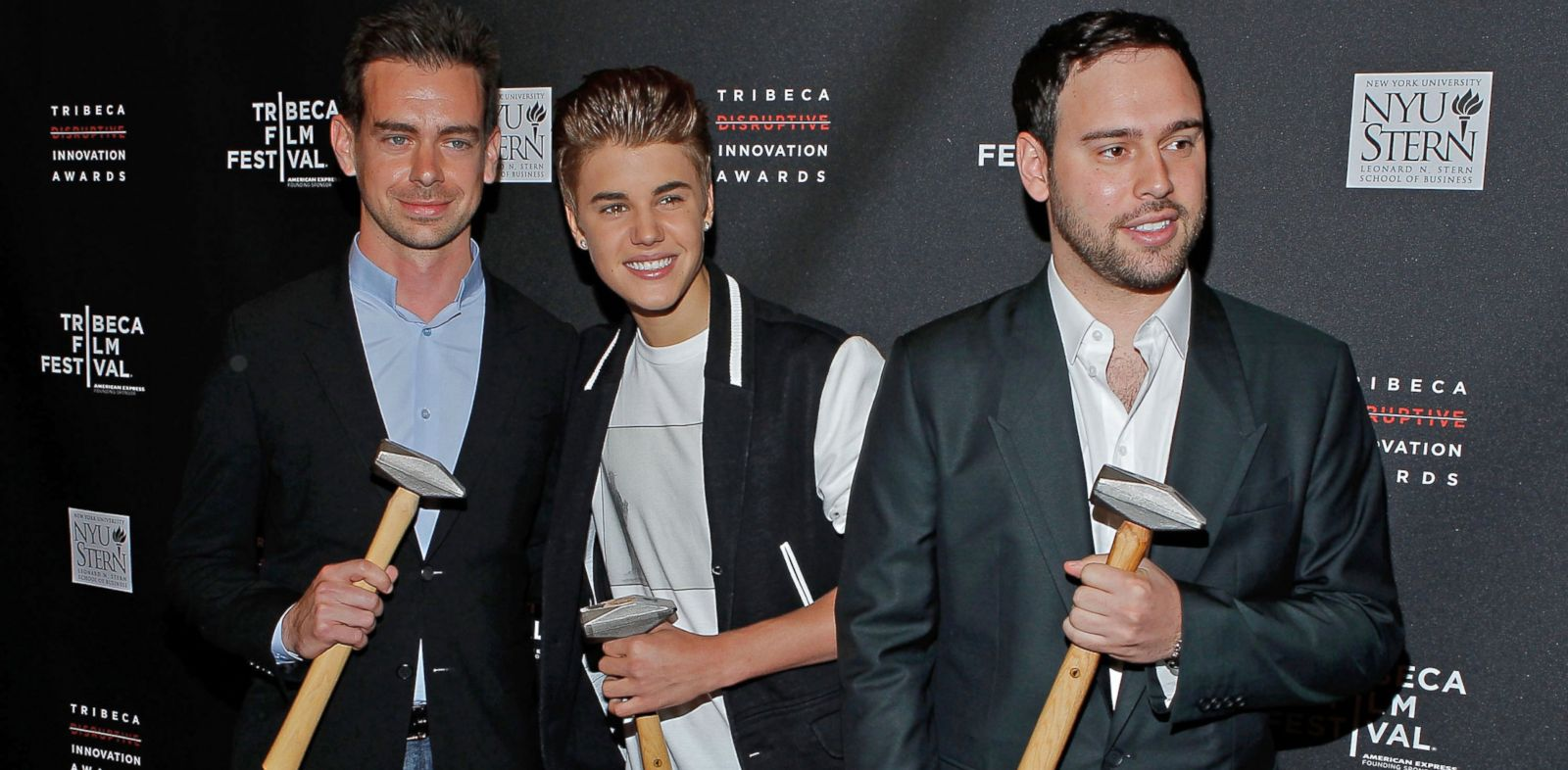 PHOTO: Twitter founder Jack Dorsey, singer Justin Bieber and Scooter Braun, left to right, attend the Tribeca Disruptive Innovation Awards during the 2012 Tribeca Film Festival, April 27, 2012, in New York.