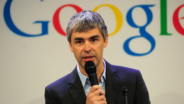 PHOTO: Google CEO Larry Page holds a press annoucement at Google headquarters in New York, May 21, 2012.