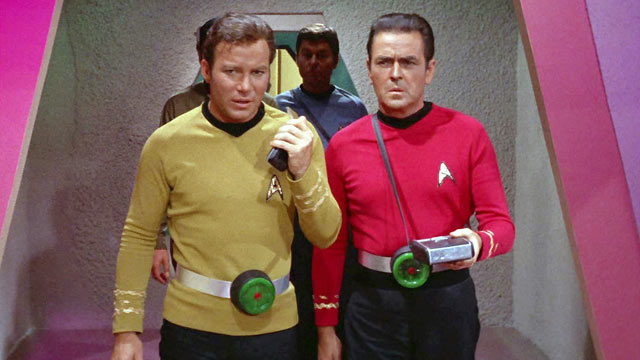 "PHOTO: William Shatner as Captain James T. Kirk, DeForest Kelley as Dr. McCoy and James Doohan as Montgomery ""Scotty"" Scott, in the STAR TREK episode, ""Spocks Brain."" The Original airdate was, Sept. 20, 1968."