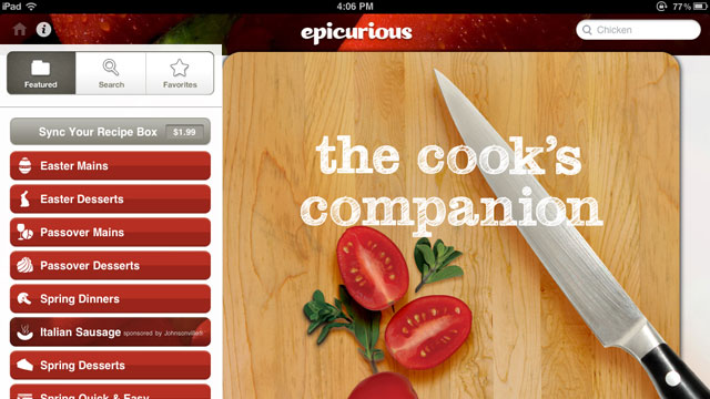 PHOTO: Epicirous' iPad app displays all the recipes you could want with beautiful images.