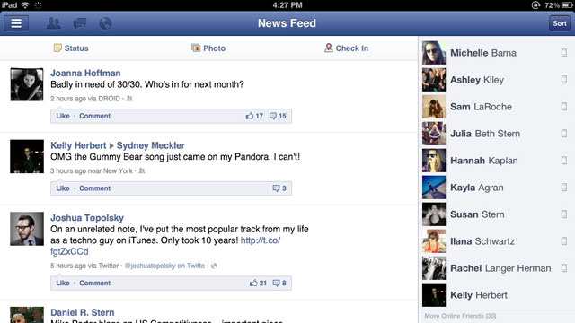 PHOTO: Facebook's iPad app.