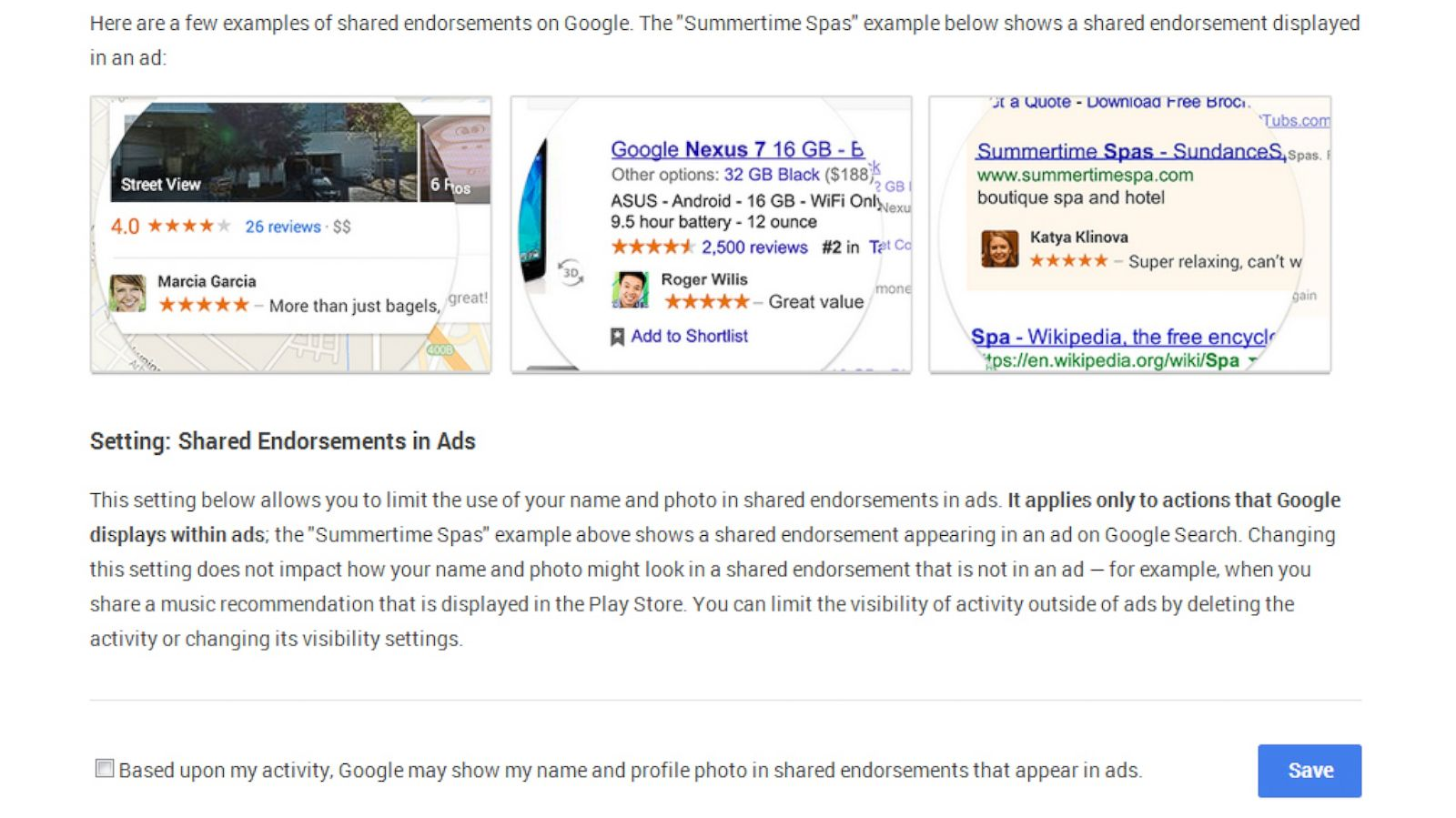 PHOTO: Googles shared endorsement settings.