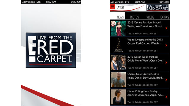 PHOTO: E!'s Live From the Red Carpet App has up-to-date news on the fashion on the Red Carpet.