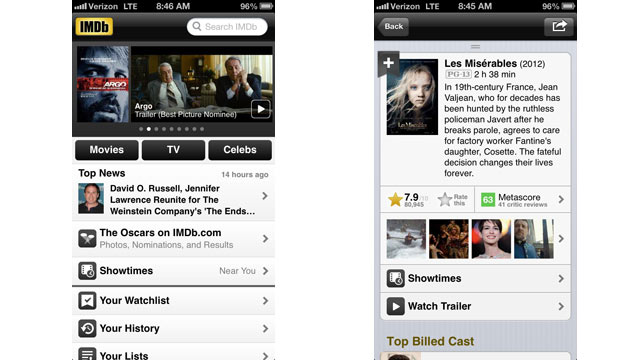 PHOTO: IMDB's app is available for the iPhone and Android.